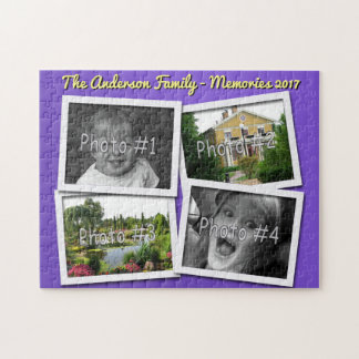 Family Memories 4 x Custom Photos Challenge Blue Jigsaw Puzzle