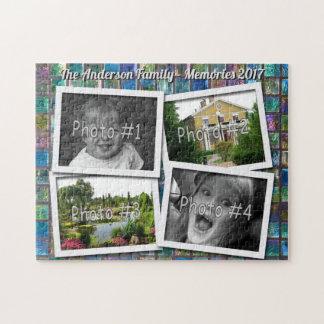 Family Memories 4 x Custom Photos on Glass Tiles Jigsaw Puzzle