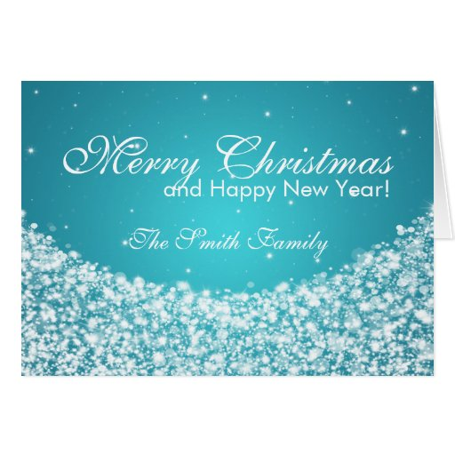 Family Merry Christmas Star Sparkle Blue Greeting Cards
