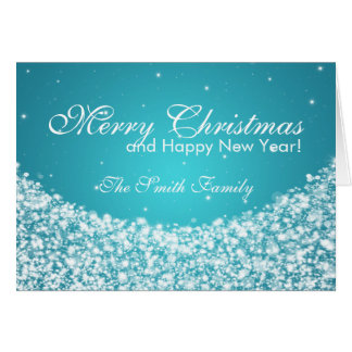 Family Merry Christmas Star Sparkle Blue Greeting Card