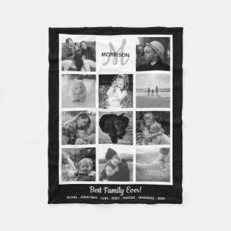 Family Monogram Photo Collage 11 Black White Photo Fleece Blanket
