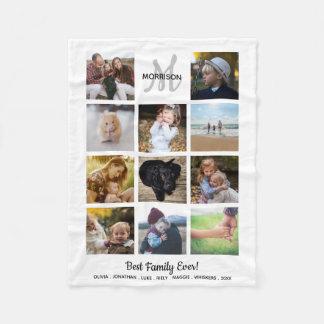 Family Monogram Photo Collage 11 Instagram Photos Fleece Blanket