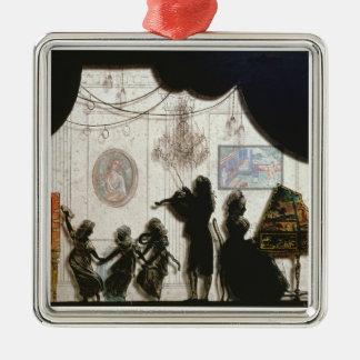 Family Musical Scene silhouette black paint on g Christmas Tree Ornaments
