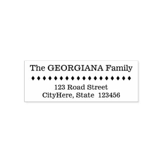Family Name + Address + Diamond Shapes Self-inking Stamp