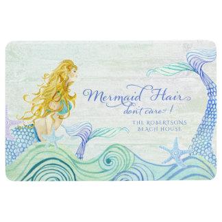Family Name Beach House Mermaid Hair Ocean Wood Floor Mat