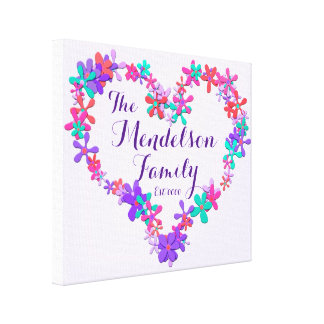 Family name floral heart shape monogram canvas print