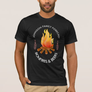 """""""(Family Name) Forecast: Bonfires and Beers"""" T-Shirt"""