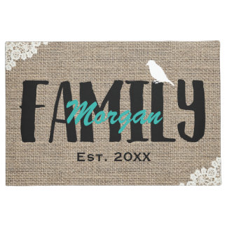 Family Name Monogram Rustic Burlap Laced Doormat