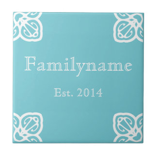 Family Name - Spanish White on Blue Ceramic Tile