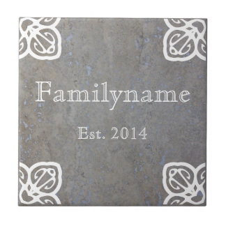 Family Name - Spanish White on Travertine Ceramic Tile