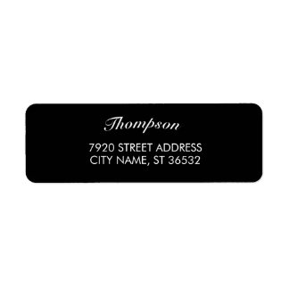 Family Name Stylish Black Elegant Return Address Label