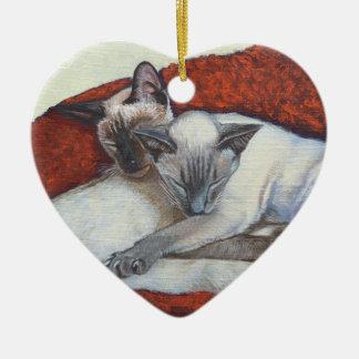 Family Nap Siamese Cat Painting Art Ceramic Heart Decoration