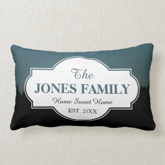 Family New Home Established Year Starry Woods Lumbar Cushion