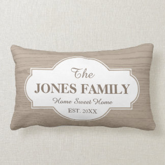 Family New Home Established Year White and Wood Throw Cushions