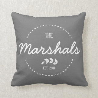 Family New Home Established Year White Stamp Cushion