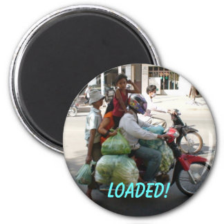 Family of 4 ... Loaded! 6 Cm Round Magnet
