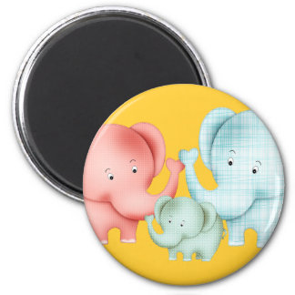 Family Of Elephants Mom Dad And Baby 6 Cm Round Magnet