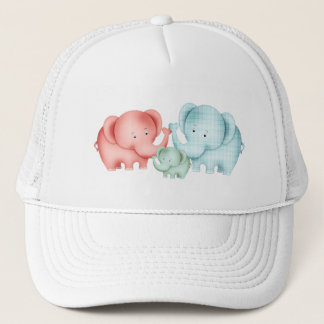 Family Of Elephants Mom Dad And Baby Trucker Hat