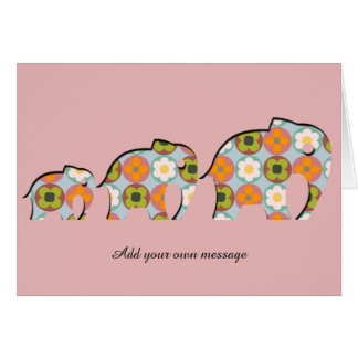 Family of Elephants Papercut Style Floral Motifs Card