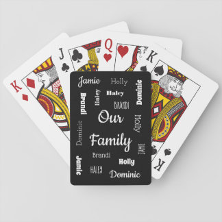 Family of Five In Cool Fonts Playing Cards