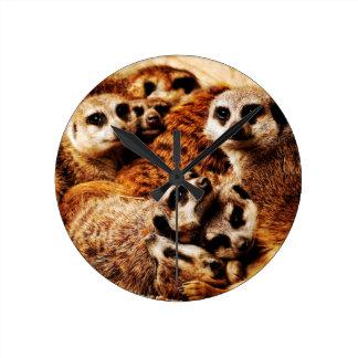 Family of Meerkats Round Clock