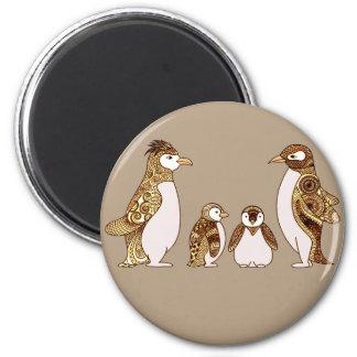 Family of Penguins 6 Cm Round Magnet