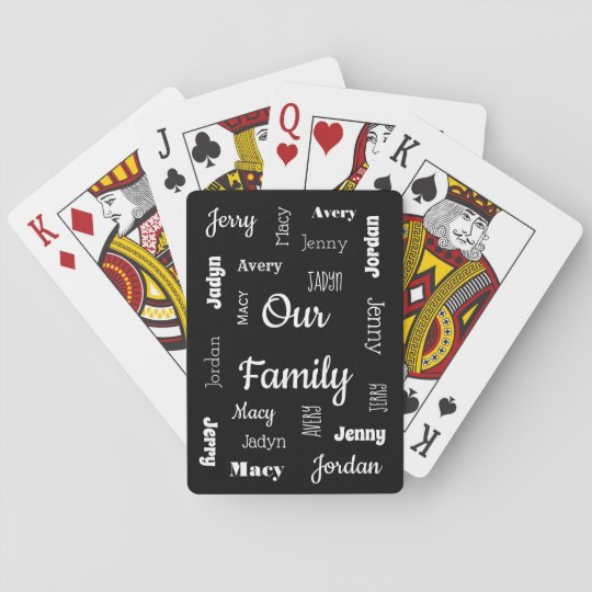 Family of Six In Cool Fonts Playing Cards