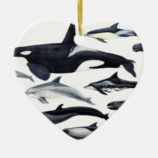 Family of the dolphins: orcas, dolphins, marsopas ceramic ornament