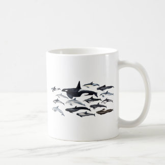 Family of the dolphins: orcas, dolphins, marsopas coffee mug