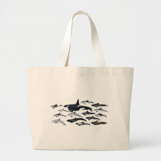 Family of the dolphins: orcas, dolphins, marsopas large tote bag