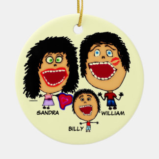Family of Three Cartoon Ceramic Ornament