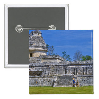 Family of tourists walk past ancient Mayan 15 Cm Square Badge