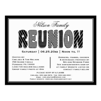Family or Class Reunion B/W Pattern Invitation Postcard
