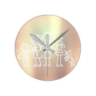 Family Pearly Metallic Blush Pink Rose Gold Round Clock
