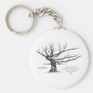 FAMILY: Pencil Art: Gnarly Old Tree: Family Ties Basic Round Button Key Ring