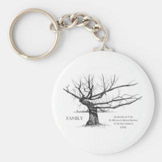 FAMILY: Pencil Art: Gnarly Old Tree: Family Ties Key Ring
