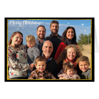 Family Photo Christmas Gold & Chalkboard Elements Card