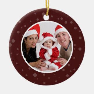 Family Photo Christmas Ornament Maroon Dots