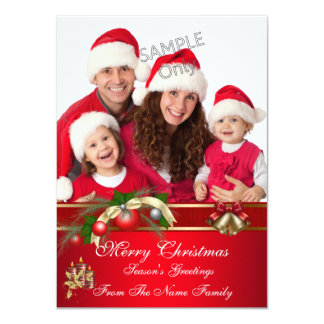 Family Photo Christmas Red Green Party Greetings 11 Cm X 16 Cm Invitation Card