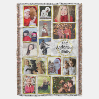 Family Photo Collage 14 Pictures Marble Gold Easy Throw Blanket