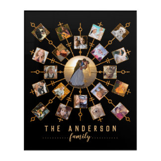 Family Photo Collage 21 Pictures Black Gold + Name Acrylic Wall Art