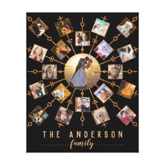 Family Photo Collage 21 Pictures Black Gold + Name Canvas Print