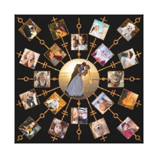 Family Photo Collage 21 Pictures Pretty Black Gold Canvas Print