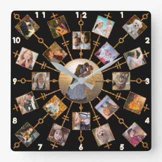 Family Photo Collage 21 Pictures Pretty Black Gold Square Wall Clock
