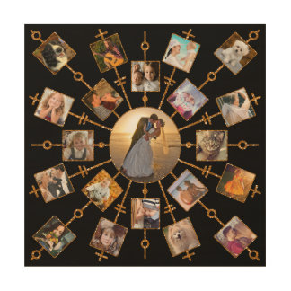 Family Photo Collage 21 Pictures Pretty Black Gold Wood Wall Decor