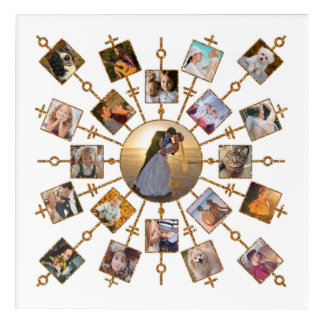 Family Photo Collage 21 Pictures Pretty White Gold Acrylic Wall Art