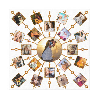 Family Photo Collage 21 Pictures Pretty White Gold Canvas Print