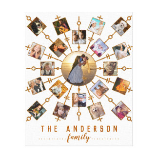 Family Photo Collage 21 Pictures White Gold + Name Canvas Print
