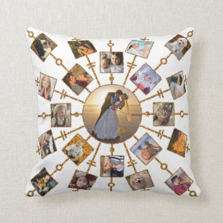 Family Photo Collage 42 Pictures Pretty White Gold Cushion