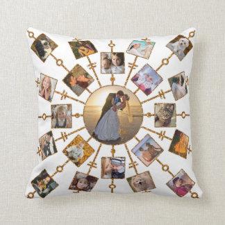 Family Photo Collage 42 Pictures Pretty White Gold Throw Pillow